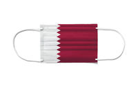 Flag of Qatar on a disposable surgical mask. White background