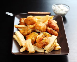 Fried fish and chips with remoulade