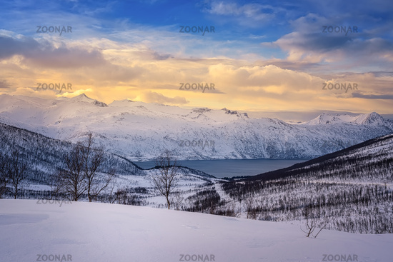 fjord and snowy mountain in Northern Norway