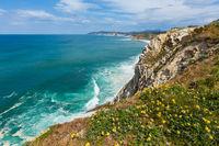 Summer ocean coastline view near beach Azkorri or Gorrondatxe in Getxo town, Biscay, Basque Country (Spain).