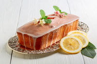 Lemon loaf cupcake with icing.