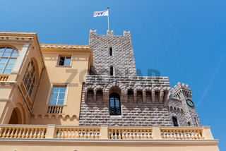 Part of Prince's Palace of Monaco over blue sky background. Official residence of the Prince of Monaco.