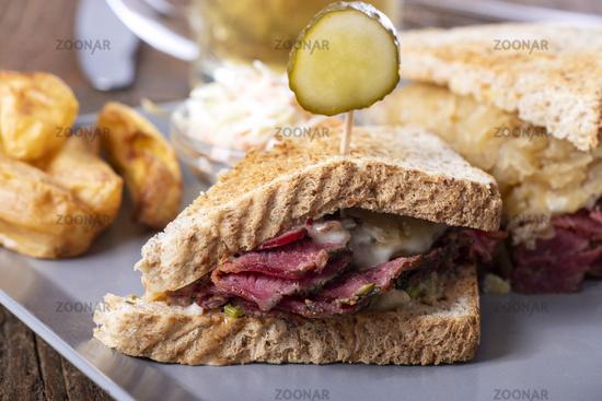 Reuben Sandwich on rustic wood