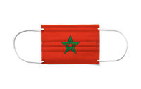 Flag of Morocco on a disposable surgical mask. White background