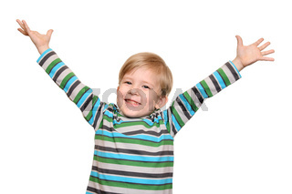 Joyful kid with arms spread wide