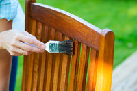 female hand holding a brush applying varnish paint on a wooden garden chair- painting and caring for wood