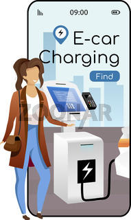 E car charging cartoon smartphone vector app screen. Mobile phone display with flat character design mockup. Eco transport, electric car recharge stations searching application telephone interface