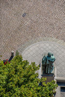 Nicolaus Copernicus Statue in Torun Old town seen from above