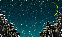 City houses winter night