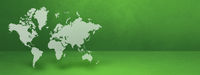 World map on green wall background. 3D illustration. Horizontal banner