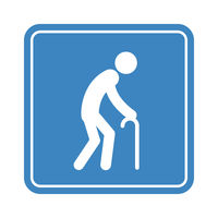 Old man with a cane, detailed blue icon for public transport isolated on the white