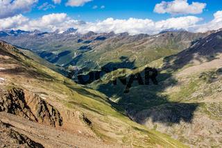 Blick vom Ramolhaus Richtung Obergurgl, Ötztal, Tirol, Österreich