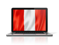peruvian flag on laptop screen isolated on white. 3D illustration