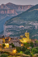The beautiful old village of Torla in the spanisch Pyrenees at dusk