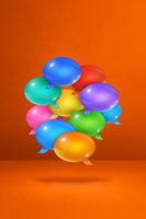 multicolor speech bubbles on orange vertical background