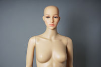 store window mannequin or display dummy with bald head and bare bust