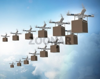 Drones in package delivery concept