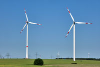 Modern wind energy turbines on a sunny day in Germany