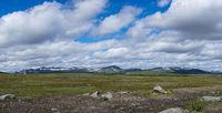 Panorama view of the wild tundra landscape ofthe Stekenkokk Plateau in Swedish Lappland