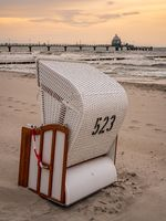 The beach and sea-bridge in Zingst, Mecklenburg-Western Pomerania, Germany
