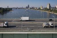 Traffic on the Zoo bridge seen from the cable car, Koeln, Rhineland, North Rhine-Westphalia, Germany