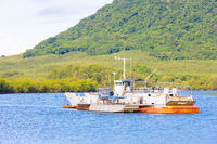 Panama Sabana Bonita, Punta de Tierra, flat bottom fishing boat with support boat