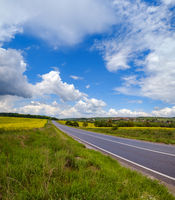 Road through spring rapeseed yellow blooming fields view, blue sky with clouds in sunlight. Natural seasonal, good weather, climate, eco, farming, countryside beauty concept.