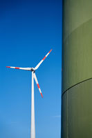 View of a wind turbine in the north of the city of Magdeburg in Germany