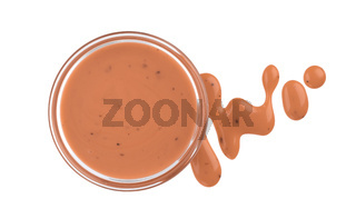Pink cocktail sauce isolated on white background, top view, small bowl of thousand island sauce