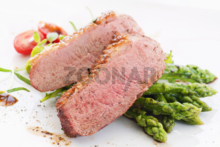 duck breast fillet with asparagus