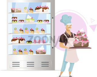 Confectionery shop showcase flat color vector illustration. Baker holding glazed tiered cake. Bakery products. Decorated confections in fridge. Isolated cartoon character on white background