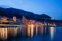 Monaco Monte Carlo and Lavrotto Skyline at Twilight