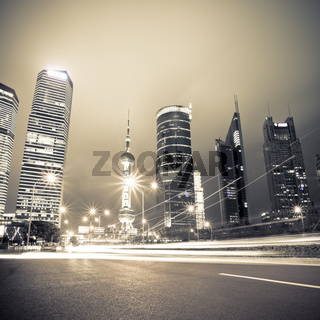 night view of the century avenue in shanghai