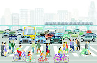 City silhouette with intersection in a city and people on the sidewalk, illustration