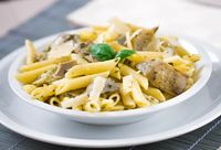 Pasta with Artichokes, Cheese and Herbs. High quality photo.