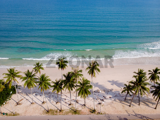 Chumpon province , white tropical beach with palm trees, Wua Laen beach Chumphon area Thailand, palm tree hanging over the beach with couple on vacation in Thailand