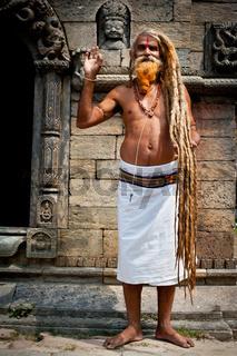 Holy Sadhu man Pashupatinath Temple. Nepal