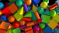 Scattered geometric shapes abstract background.