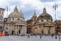 View of piazza del Popolo in Rome. Santa Maria in Montesanto and Santa Maria dei Miracoli basilics