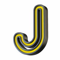 Yellow black outlined font Letter J 3D