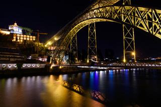 Night view of Dom Luis I Bridge, a double-deck bridge across the River Douro in Porto, Portugal