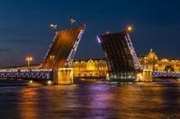 Drawn Palace bridge and Winter Palace
