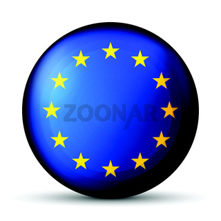 Glass light ball with European Union flag. Round sphere, template icon. EU national symbol. Glossy realistic ball, 3D abstract vector illustration highlighted on a white background. Big bubble