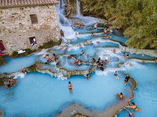 Toscane Italy, natural spa with waterfalls and hot springs at Saturnia thermal baths, Grosseto, Tuscany, Italy aerial view on the Natural thermal waterfalls at Saturnia