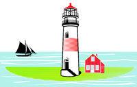 Lighthouse on an island and sailing ship illustration