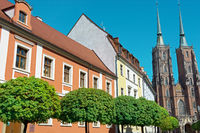 Historic inner city Wroclaw (Breslau) with cathedral in the background