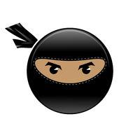 Cartoon Ninja Face Icon Isolated on White Background. Warrior Logo