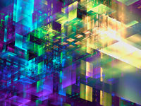 Construction of multicolored glass blocks - abstract 3d illustration