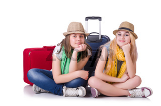 Pair of young students travelling