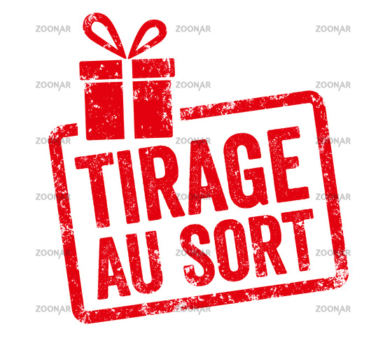 Red stamp with gift icon  - Raffle in french - Tirage au sort
